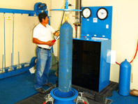 Hydrostatic testing of high pressure